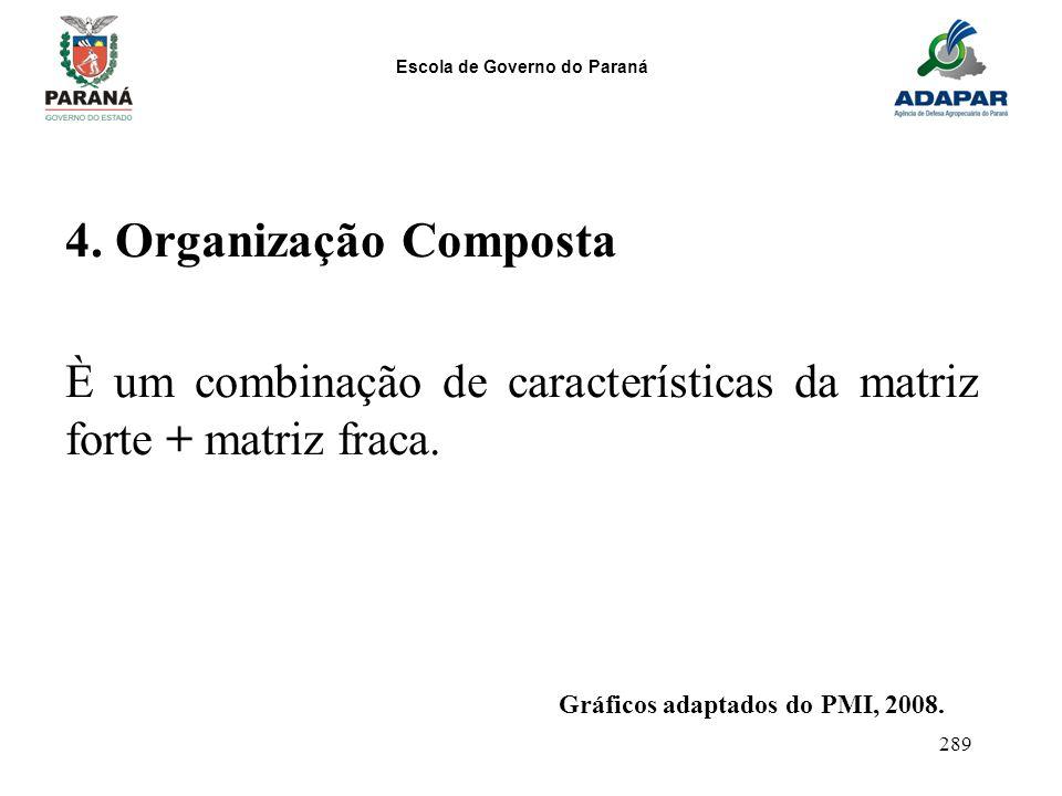 Escola de Governo do Paraná 289 4. Organização Composta È um combinação de características da matriz forte + matriz fraca. Gráficos adaptados do PMI,