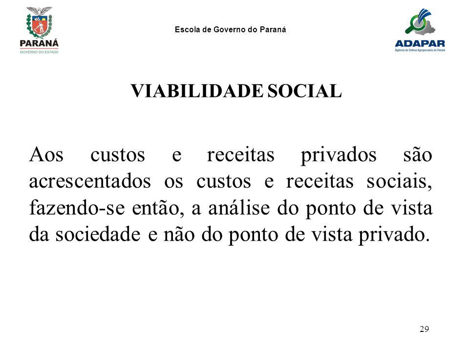 Escola de Governo do Paraná 29 VIABILIDADE SOCIAL Aos custos e receitas privados são acrescentados os custos e receitas sociais, fazendo-se então, a a