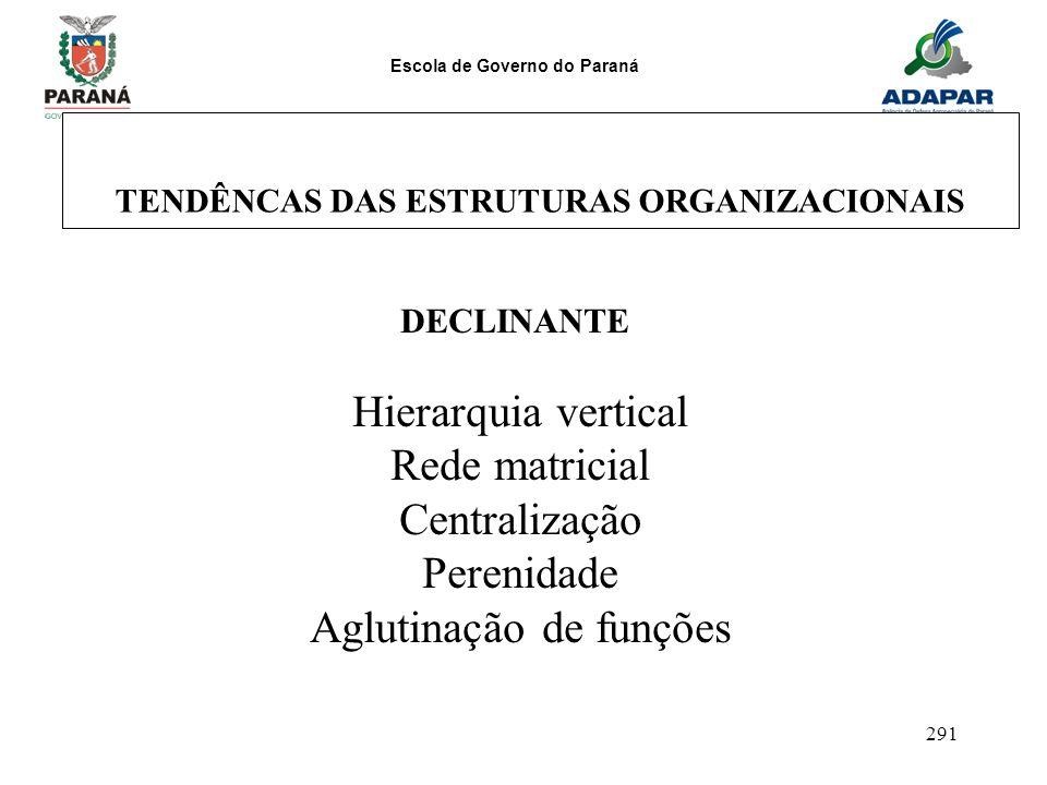 Escola de Governo do Paraná 291 TENDÊNCAS DAS ESTRUTURAS ORGANIZACIONAIS DECLINANTE Hierarquia vertical Rede matricial Centralização Perenidade Agluti