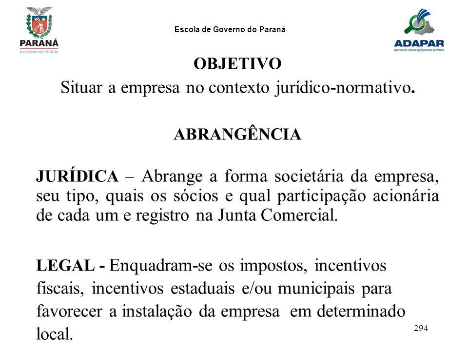 Escola de Governo do Paraná 294 OBJETIVO Situar a empresa no contexto jurídico-normativo. ABRANGÊNCIA JURÍDICA – Abrange a forma societária da empresa