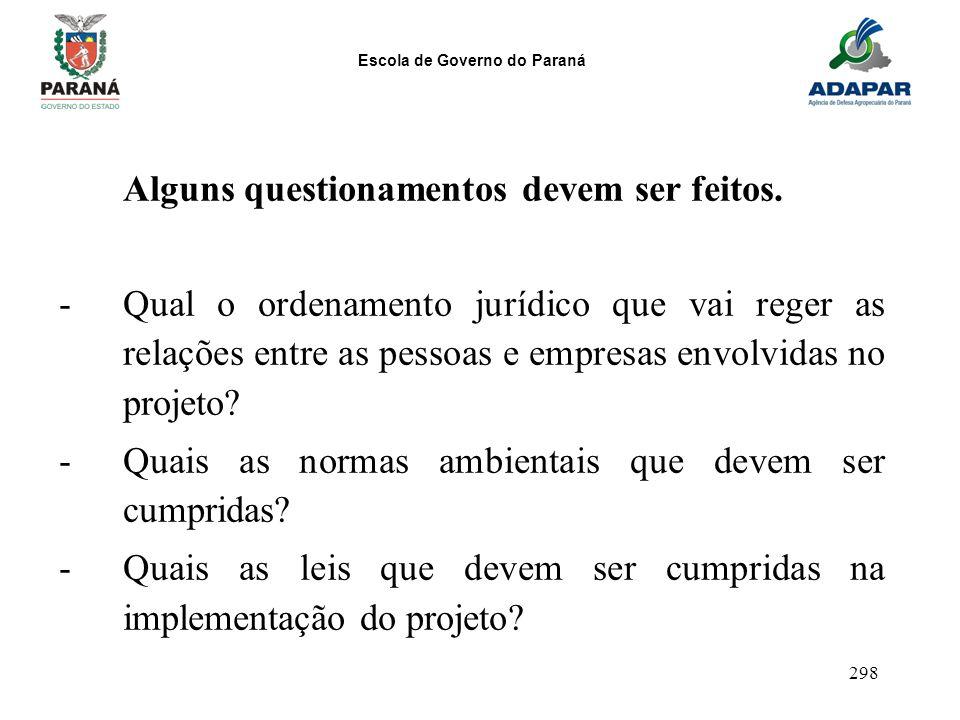 Escola de Governo do Paraná 298 Alguns questionamentos devem ser feitos. -Qual o ordenamento jurídico que vai reger as relações entre as pessoas e emp