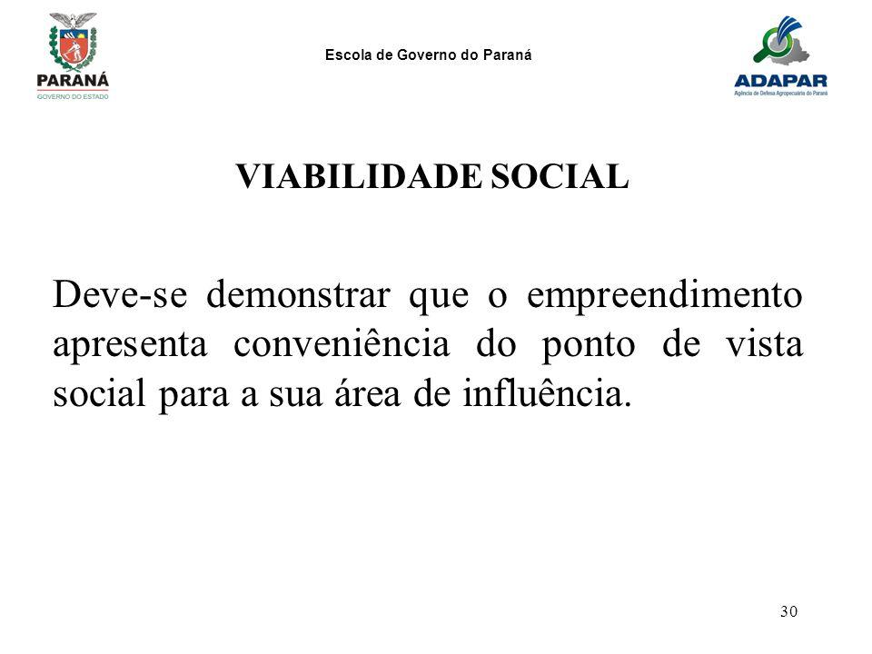 Escola de Governo do Paraná 30 VIABILIDADE SOCIAL Deve-se demonstrar que o empreendimento apresenta conveniência do ponto de vista social para a sua á