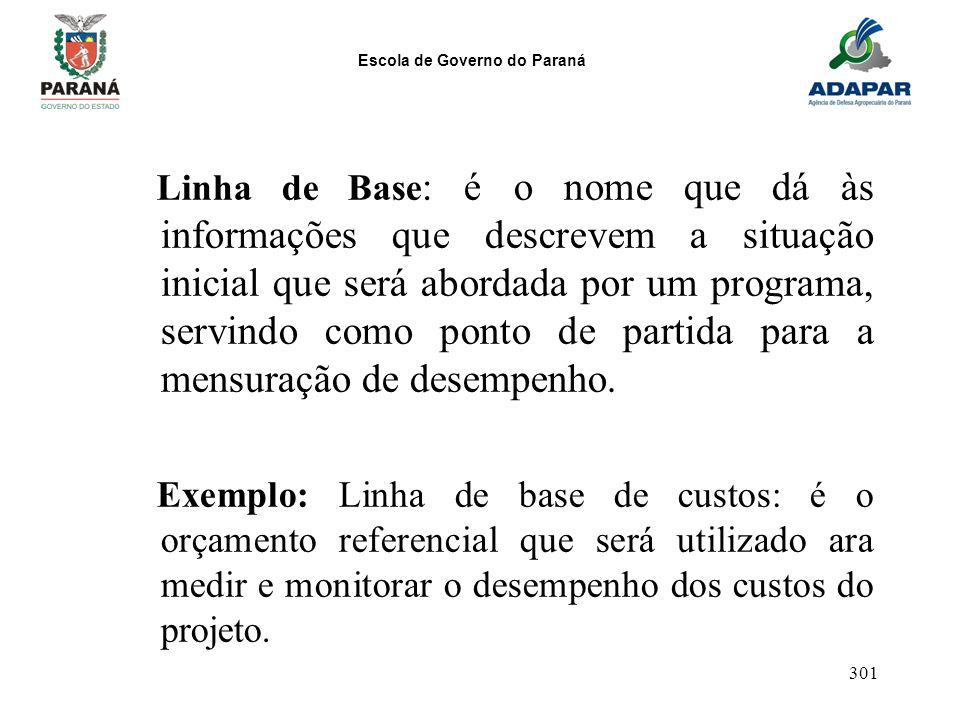 Escola de Governo do Paraná 301 Linha de Base : é o nome que dá às informações que descrevem a situação inicial que será abordada por um programa, ser