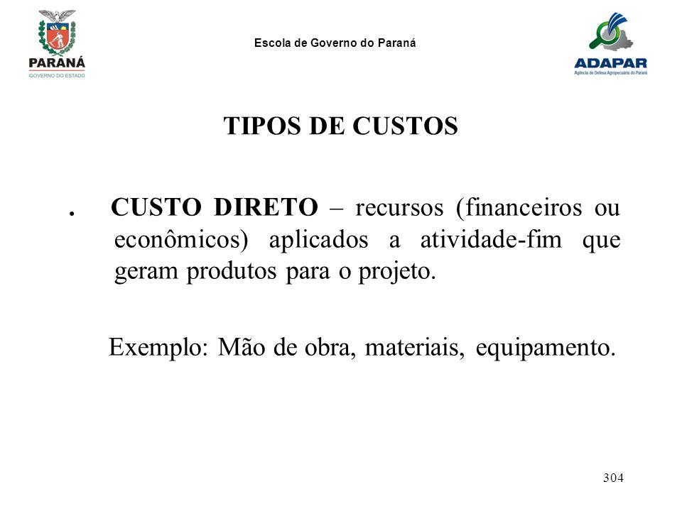 Escola de Governo do Paraná 304. CUSTO DIRETO – recursos (financeiros ou econômicos) aplicados a atividade-fim que geram produtos para o projeto. Exem