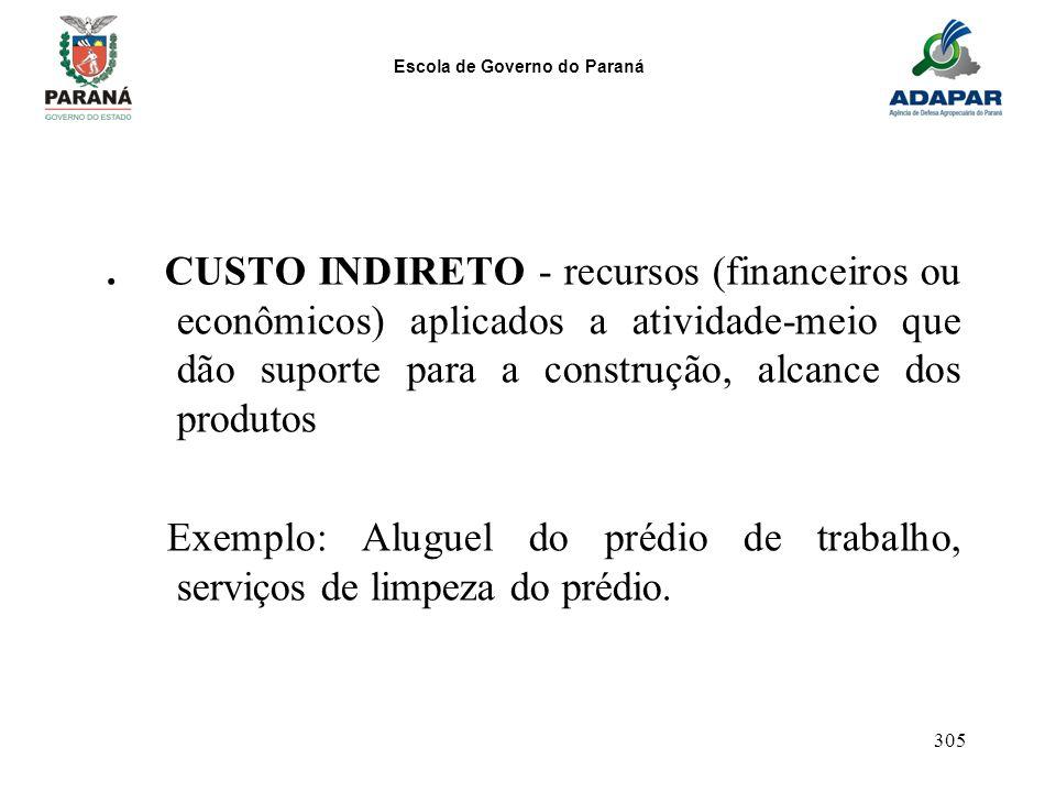 Escola de Governo do Paraná 305. CUSTO INDIRETO - recursos (financeiros ou econômicos) aplicados a atividade-meio que dão suporte para a construção, a