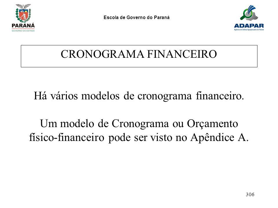 Escola de Governo do Paraná 306 CRONOGRAMA FINANCEIRO Há vários modelos de cronograma financeiro. Um modelo de Cronograma ou Orçamento físico-financei