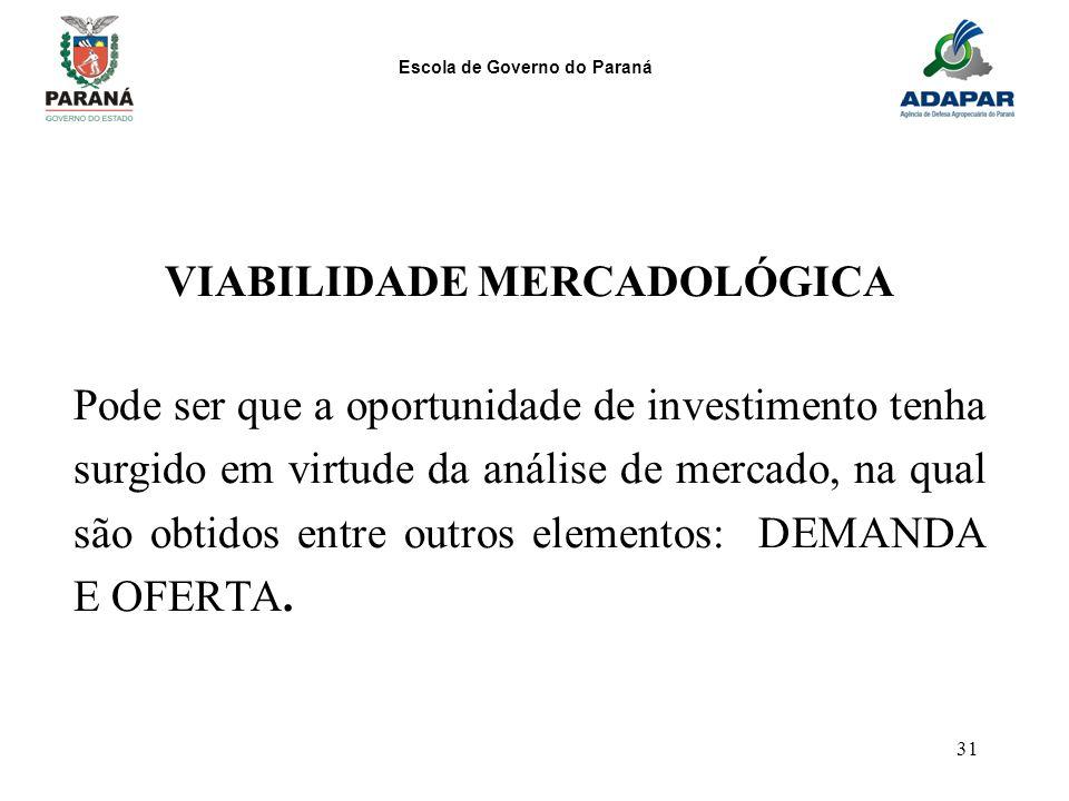 Escola de Governo do Paraná 31 VIABILIDADE MERCADOLÓGICA Pode ser que a oportunidade de investimento tenha surgido em virtude da análise de mercado, n