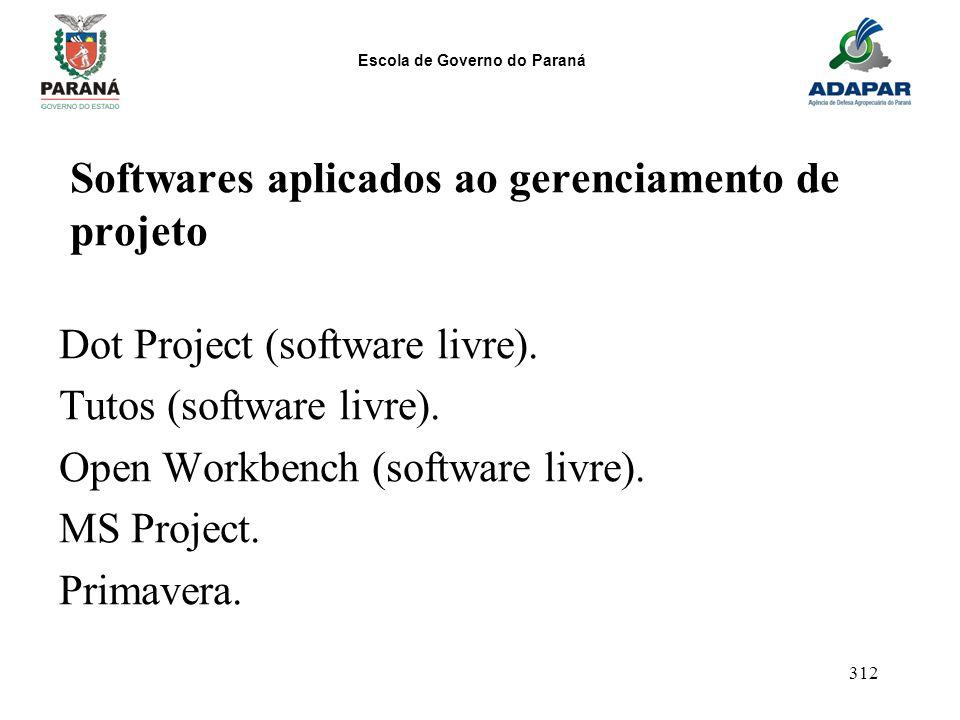 Escola de Governo do Paraná 312 Softwares aplicados ao gerenciamento de projeto Dot Project (software livre). Tutos (software livre). Open Workbench (