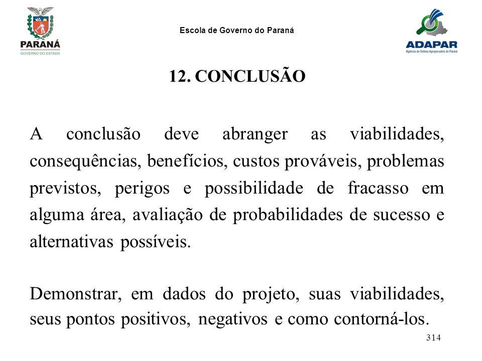 Escola de Governo do Paraná 314 12. CONCLUSÃO A conclusão deve abranger as viabilidades, consequências, benefícios, custos prováveis, problemas previs