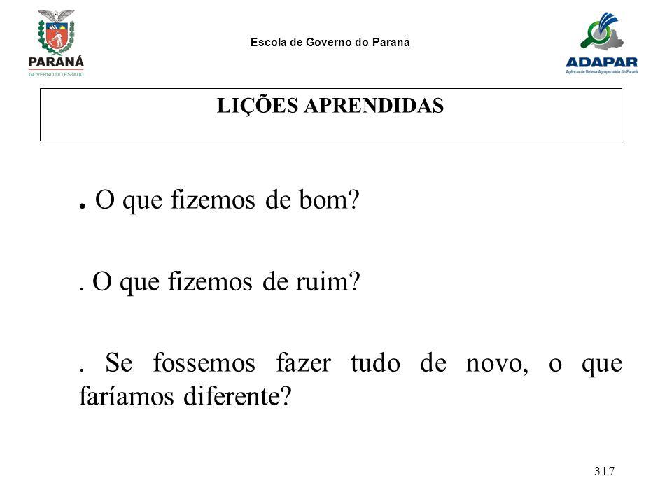 Escola de Governo do Paraná 317 LIÇÕES APRENDIDAS. O que fizemos de bom?. O que fizemos de ruim?. Se fossemos fazer tudo de novo, o que faríamos difer