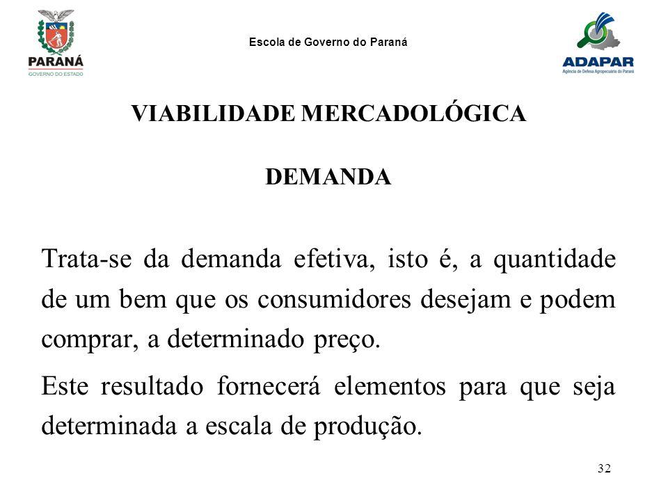 Escola de Governo do Paraná 32 VIABILIDADE MERCADOLÓGICA DEMANDA Trata-se da demanda efetiva, isto é, a quantidade de um bem que os consumidores desej