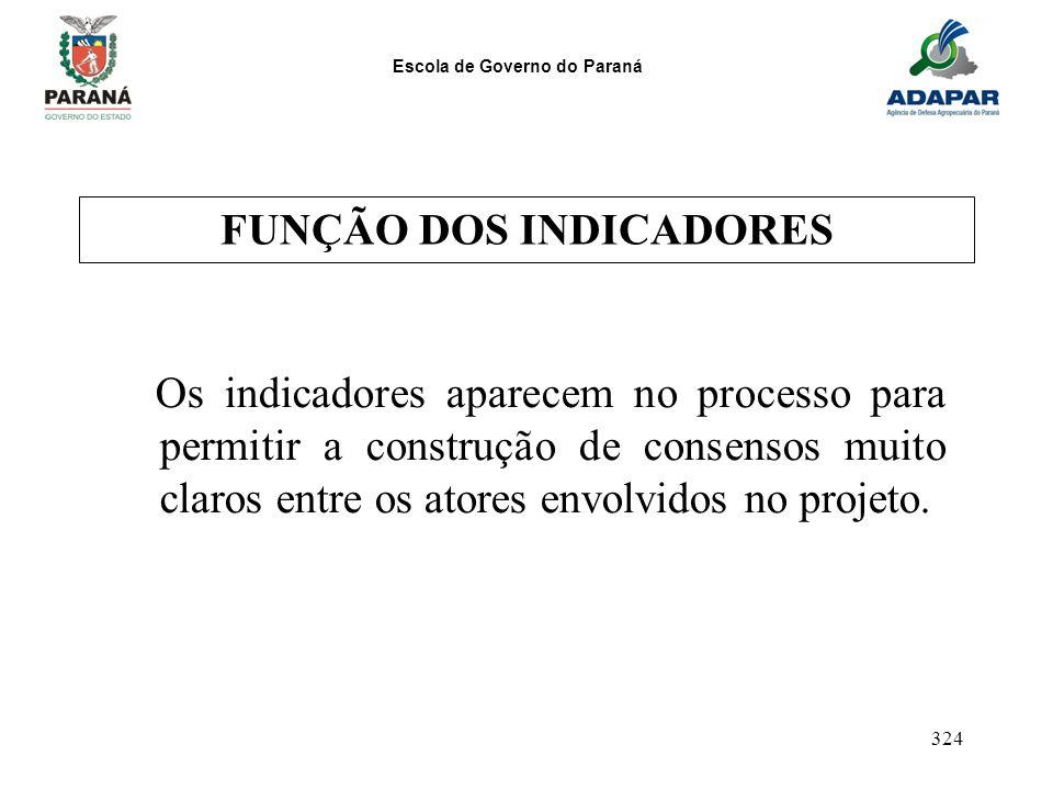 Escola de Governo do Paraná 324 FUNÇÃO DOS INDICADORES Os indicadores aparecem no processo para permitir a construção de consensos muito claros entre
