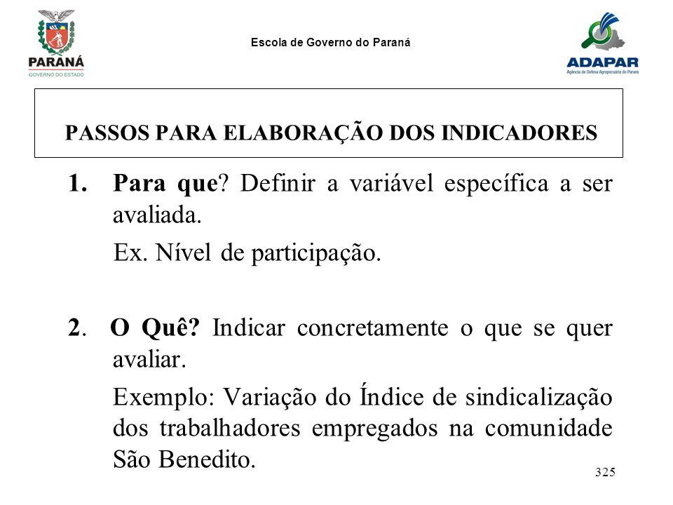 Escola de Governo do Paraná 325 PASSOS PARA ELABORAÇÃO DOS INDICADORES 1.Para que? Definir a variável específica a ser avaliada. Ex. Nível de particip