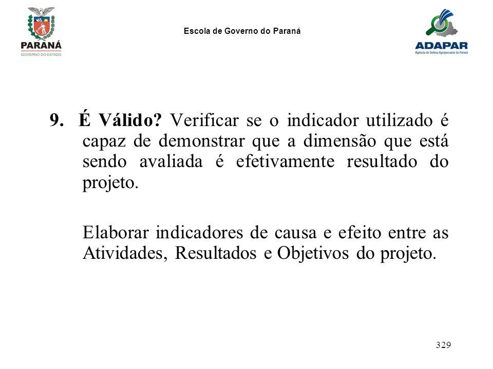 Escola de Governo do Paraná 329 9. É Válido? Verificar se o indicador utilizado é capaz de demonstrar que a dimensão que está sendo avaliada é efetiva