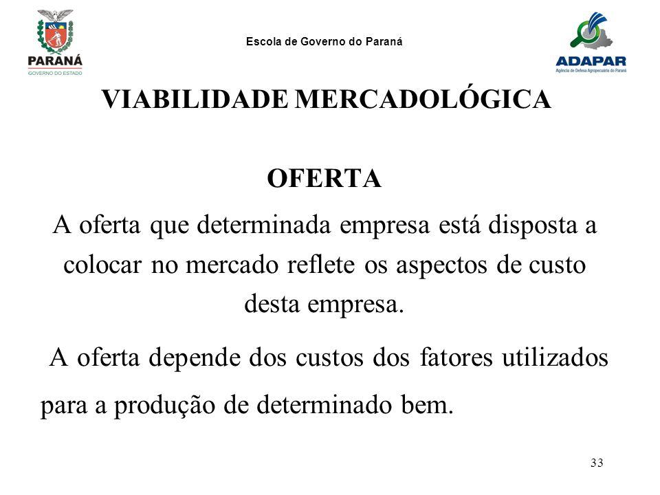 Escola de Governo do Paraná 33 VIABILIDADE MERCADOLÓGICA OFERTA A oferta que determinada empresa está disposta a colocar no mercado reflete os aspecto