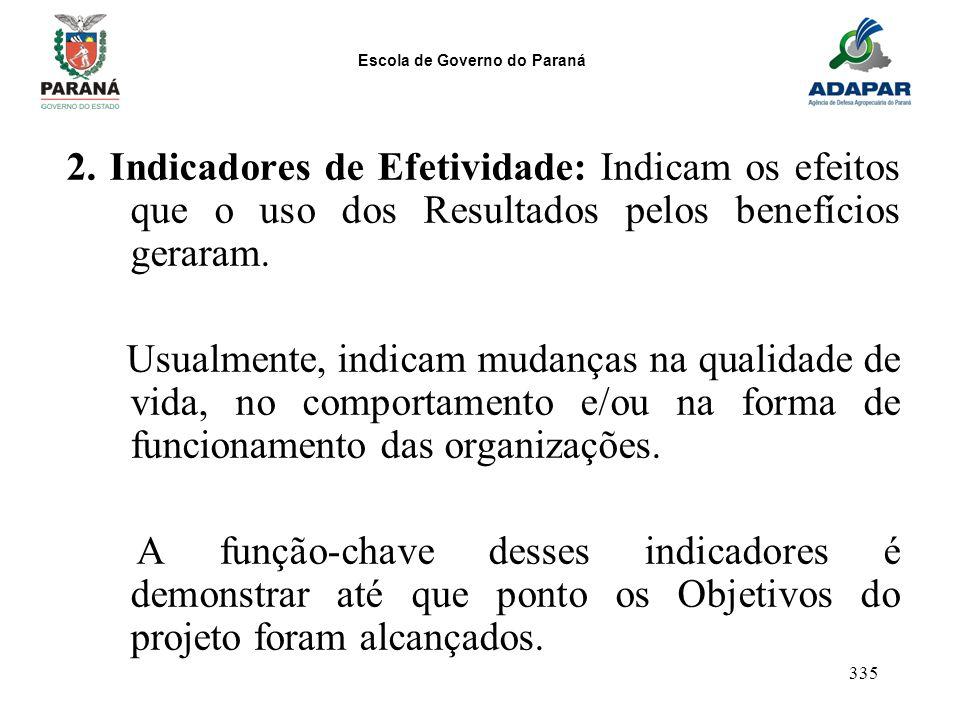 Escola de Governo do Paraná 335 2. Indicadores de Efetividade: Indicam os efeitos que o uso dos Resultados pelos benefícios geraram. Usualmente, indic