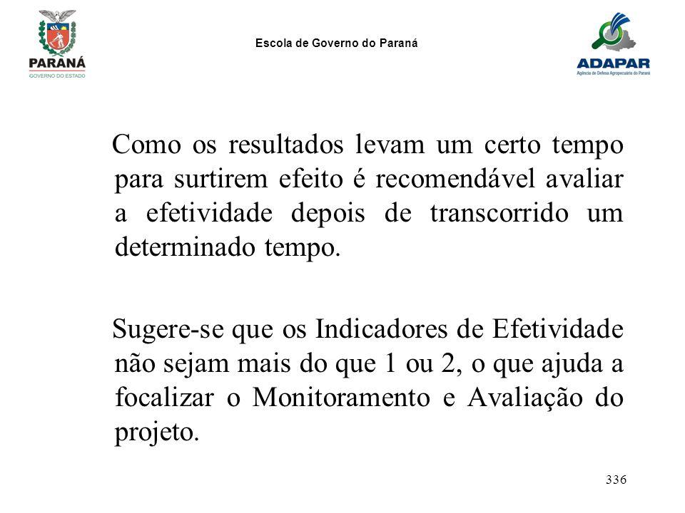 Escola de Governo do Paraná 336 Como os resultados levam um certo tempo para surtirem efeito é recomendável avaliar a efetividade depois de transcorri