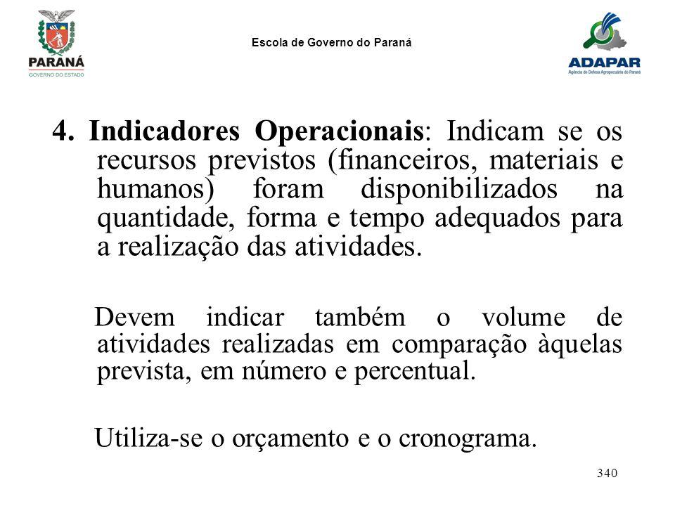 Escola de Governo do Paraná 340 4. Indicadores Operacionais: Indicam se os recursos previstos (financeiros, materiais e humanos) foram disponibilizado