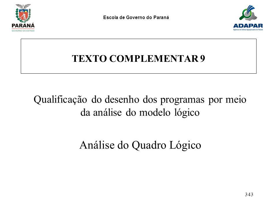 Escola de Governo do Paraná 343 TEXTO COMPLEMENTAR 9 Qualificação do desenho dos programas por meio da análise do modelo lógico Análise do Quadro Lógi