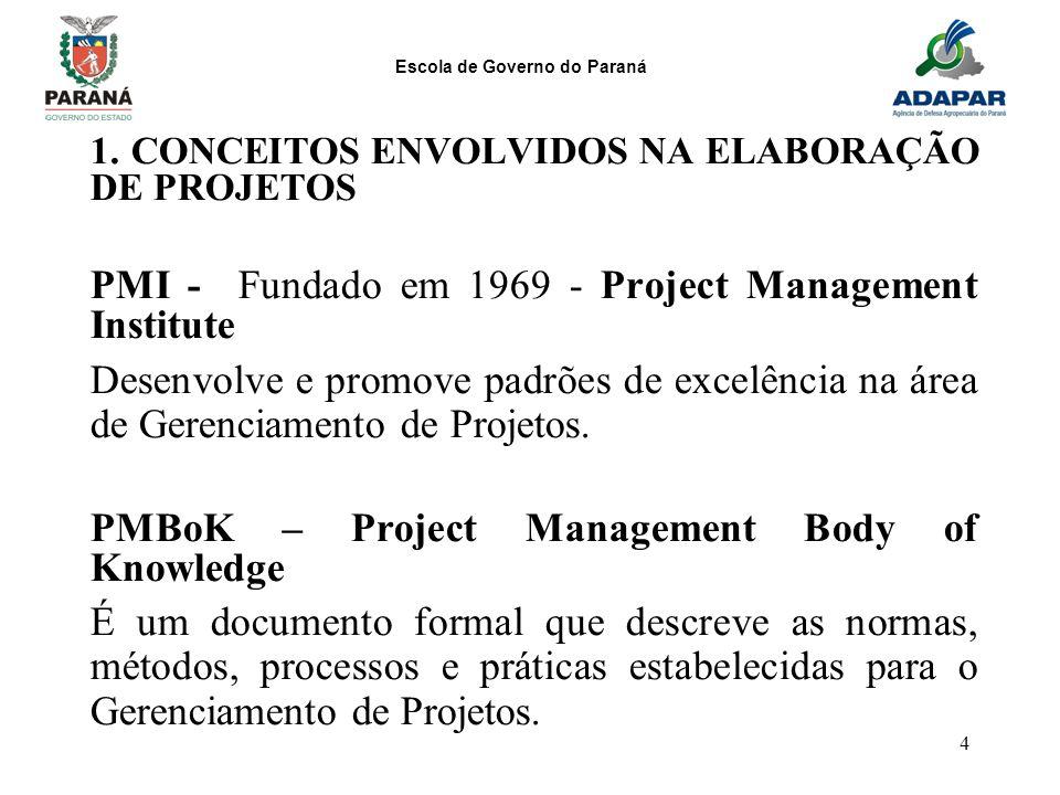 Escola de Governo do Paraná 4 1. CONCEITOS ENVOLVIDOS NA ELABORAÇÃO DE PROJETOS PMI - Fundado em 1969 - Project Management Institute Desenvolve e prom