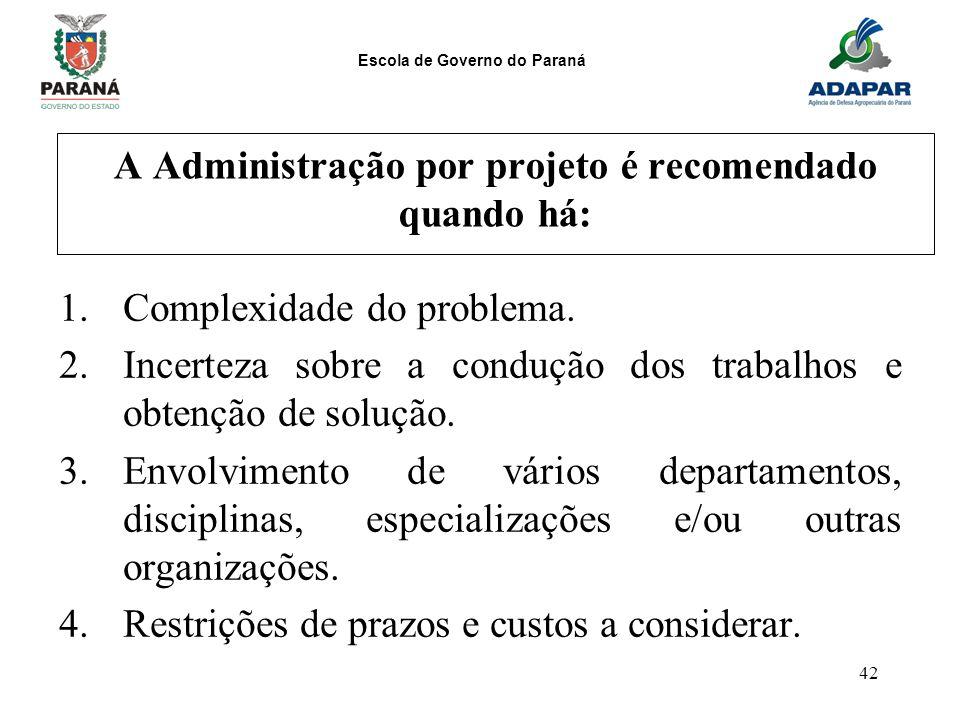 Escola de Governo do Paraná 42 A Administração por projeto é recomendado quando há: 1.Complexidade do problema. 2.Incerteza sobre a condução dos traba