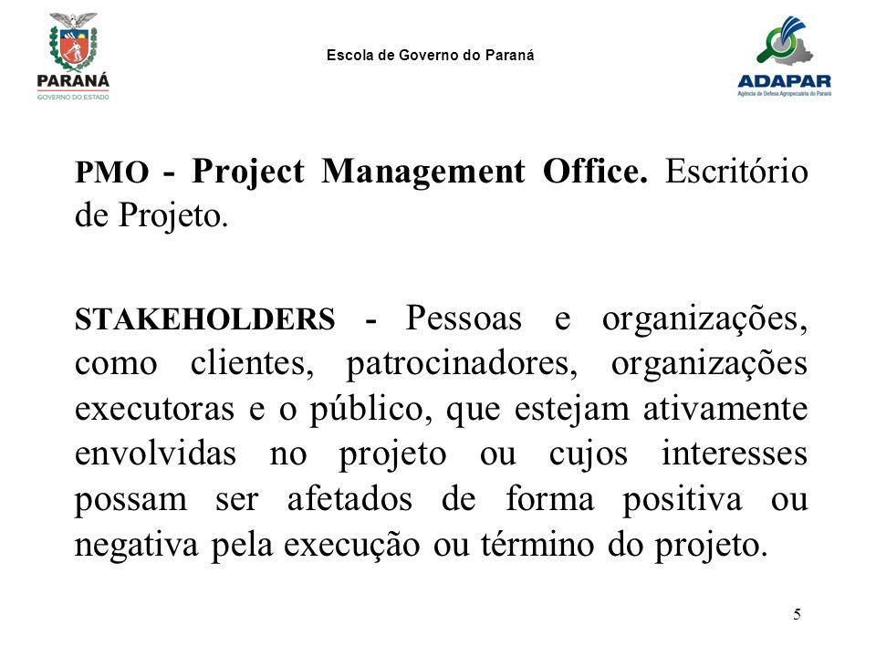 Escola de Governo do Paraná 5 PMO - Project Management Office. Escritório de Projeto. STAKEHOLDERS - Pessoas e organizações, como clientes, patrocinad