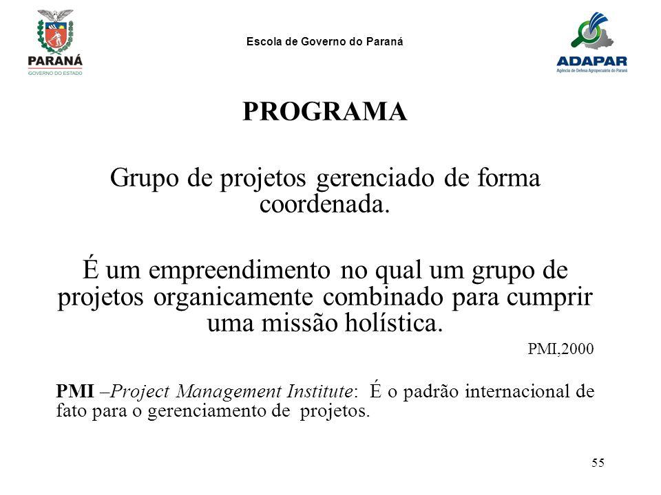 Escola de Governo do Paraná 55 PROGRAMA Grupo de projetos gerenciado de forma coordenada. É um empreendimento no qual um grupo de projetos organicamen