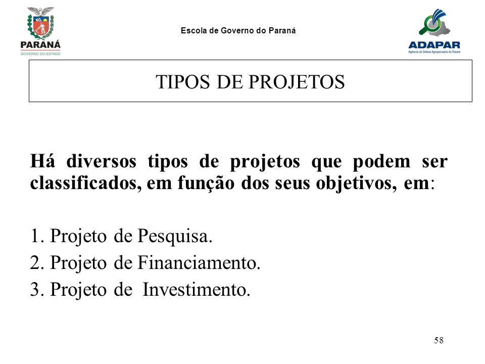 Escola de Governo do Paraná 58 TIPOS DE PROJETOS Há diversos tipos de projetos que podem ser classificados, em função dos seus objetivos, em: 1. Proje