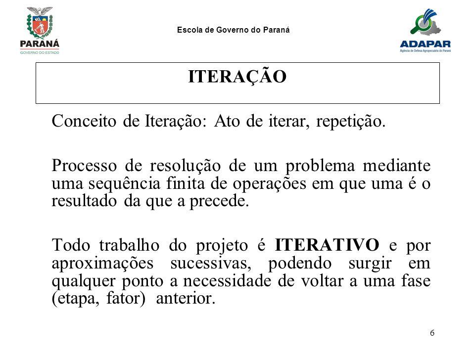 Escola de Governo do Paraná 6 ITERAÇÃO Conceito de Iteração: Ato de iterar, repetição. Processo de resolução de um problema mediante uma sequência fin