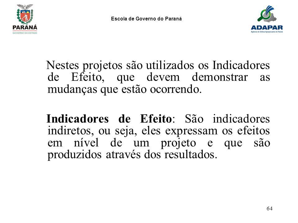 Escola de Governo do Paraná 64 Nestes projetos são utilizados os Indicadores de Efeito, que devem demonstrar as mudanças que estão ocorrendo. Indicado