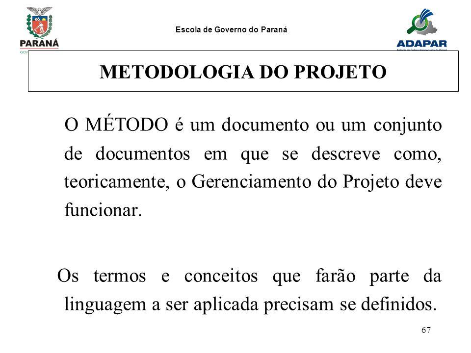 Escola de Governo do Paraná 67 METODOLOGIA DO PROJETO O MÉTODO é um documento ou um conjunto de documentos em que se descreve como, teoricamente, o Ge