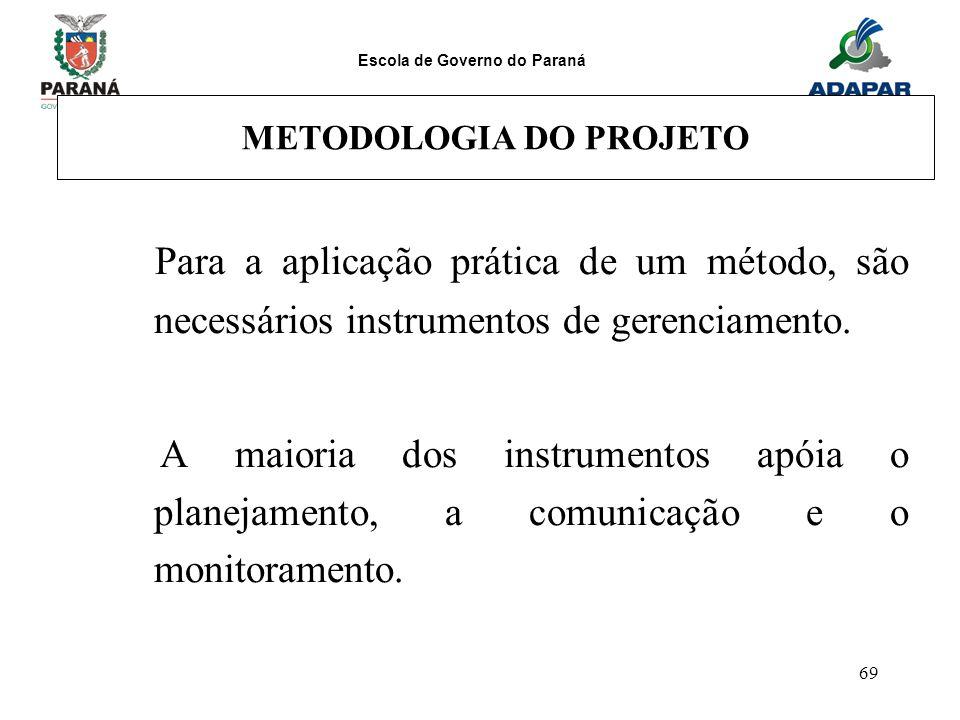 Escola de Governo do Paraná 69 METODOLOGIA DO PROJETO Para a aplicação prática de um método, são necessários instrumentos de gerenciamento. A maioria