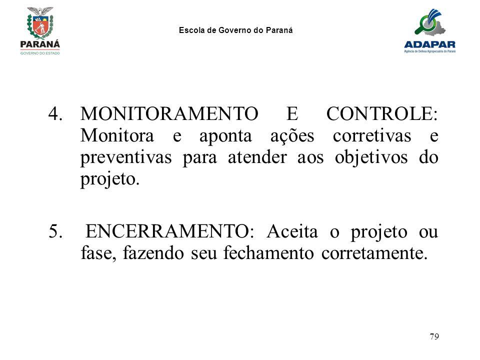 Escola de Governo do Paraná 79 4.MONITORAMENTO E CONTROLE: Monitora e aponta ações corretivas e preventivas para atender aos objetivos do projeto. 5.