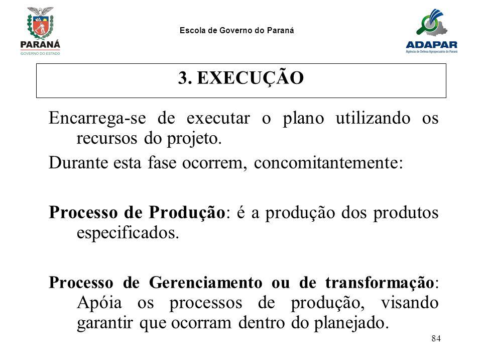 Escola de Governo do Paraná 84 3. EXECUÇÃO Encarrega-se de executar o plano utilizando os recursos do projeto. Durante esta fase ocorrem, concomitante