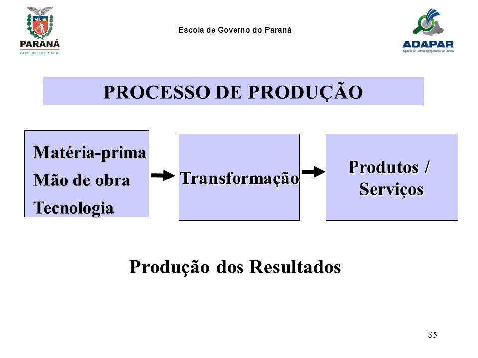Escola de Governo do Paraná 85 Matéria-prima Mão de obra Tecnologia Transformação Produtos / Serviços Produção dos Resultados PROCESSO DE PRODUÇÃO