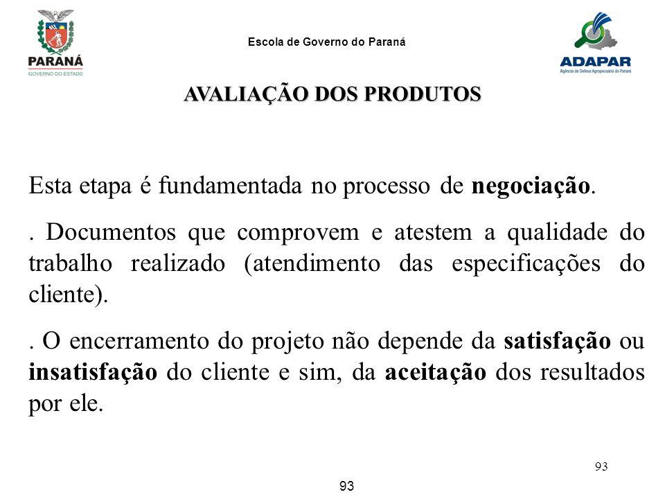 Escola de Governo do Paraná 93 AVALIAÇÃO DOS PRODUTOS Esta etapa é fundamentada no processo de negociação.. Documentos que comprovem e atestem a quali