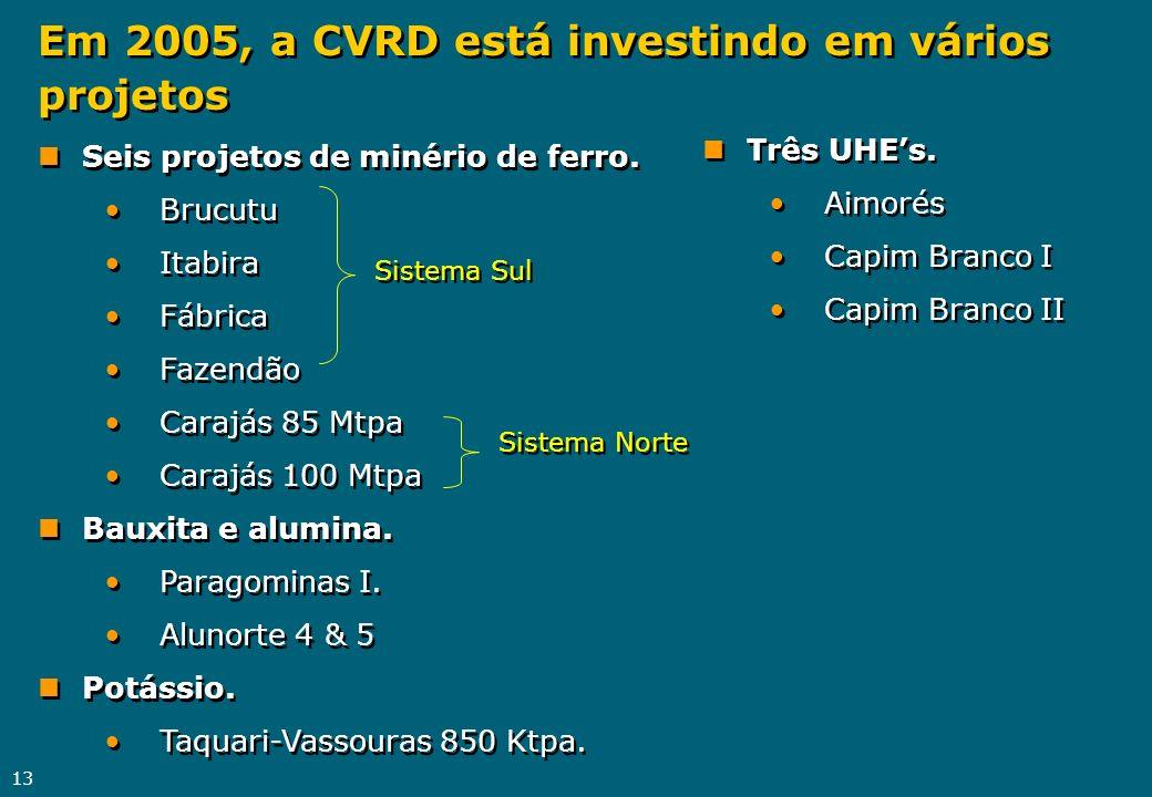 13 Em 2005, a CVRD está investindo em vários projetos nSeis projetos de minério de ferro. Brucutu Itabira Fábrica Fazendão Carajás 85 Mtpa Carajás 100