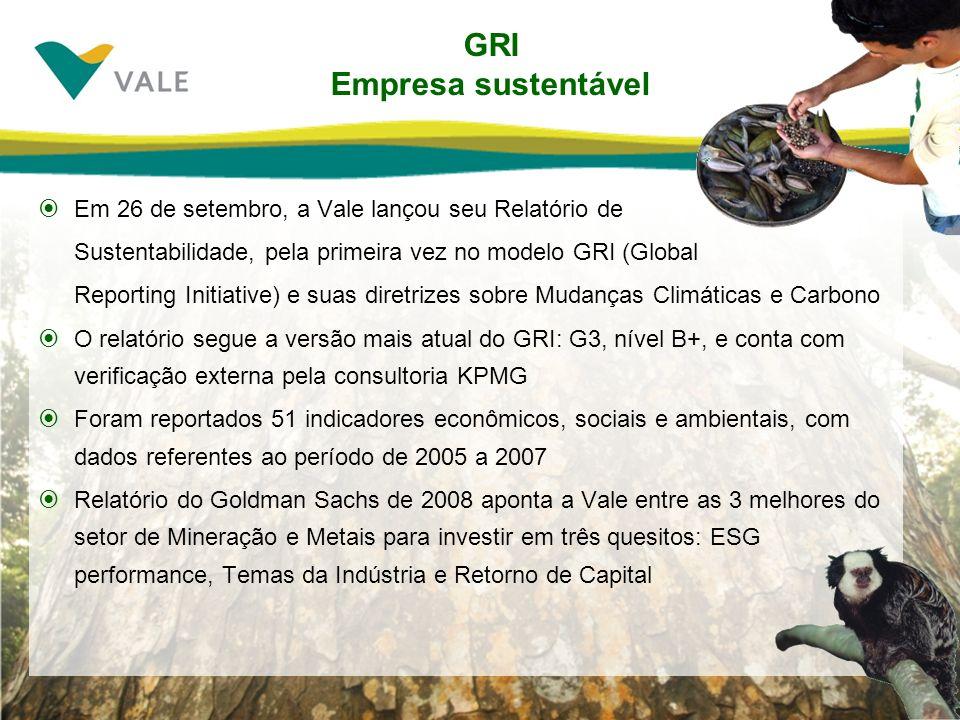 GRI Empresa sustentável Em 26 de setembro, a Vale lançou seu Relatório de Sustentabilidade, pela primeira vez no modelo GRI (Global Reporting Initiati