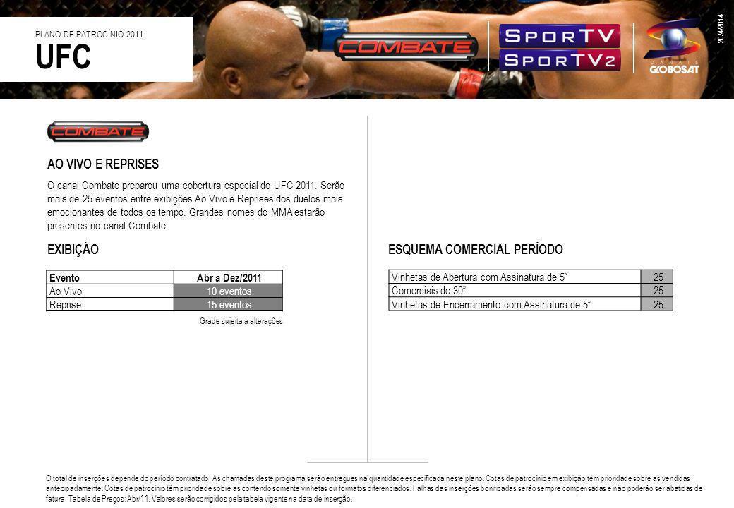 AO VIVO E REPRISES O canal Combate preparou uma cobertura especial do UFC 2011. Serão mais de 25 eventos entre exibições Ao Vivo e Reprises dos duelos