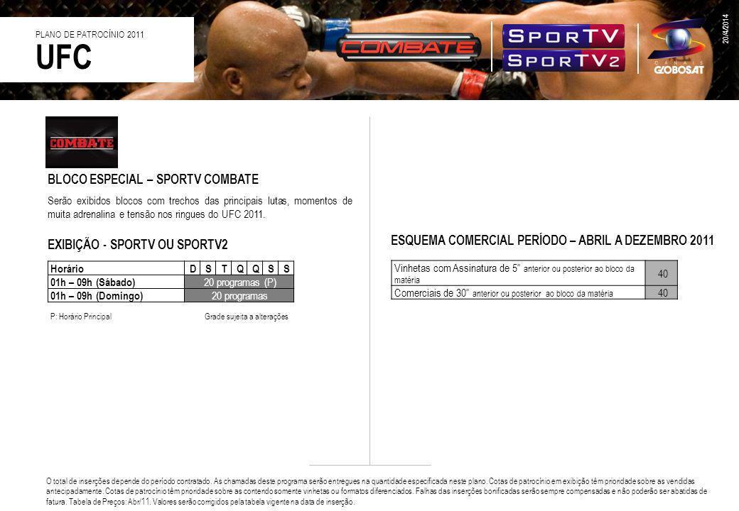BLOCO ESPECIAL – SPORTV COMBATE Serão exibidos blocos com trechos das principais lutas, momentos de muita adrenalina e tensão nos ringues do UFC 2011.