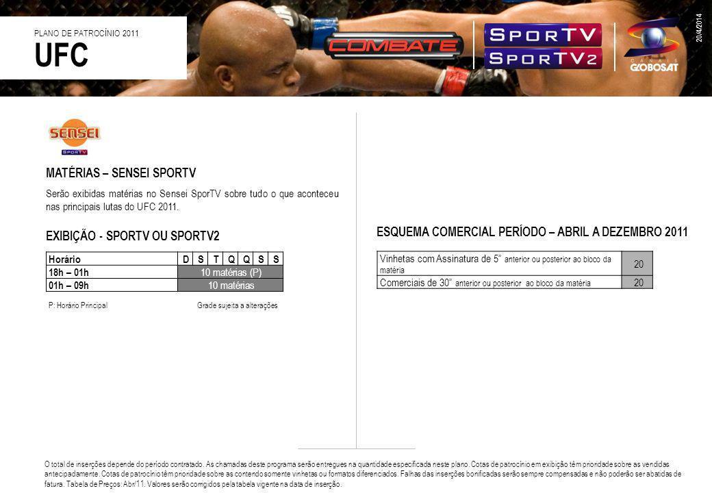 MATÉRIAS – SENSEI SPORTV Serão exibidas matérias no Sensei SporTV sobre tudo o que aconteceu nas principais lutas do UFC 2011. ESQUEMA COMERCIAL PERÍO