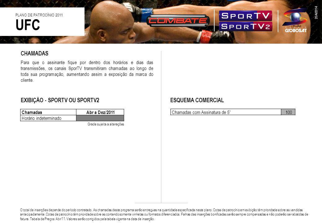 CHAMADAS Para que o assinante fique por dentro dos horários e dias das transmissões, os canais SporTV transmitiram chamadas ao longo de toda sua progr