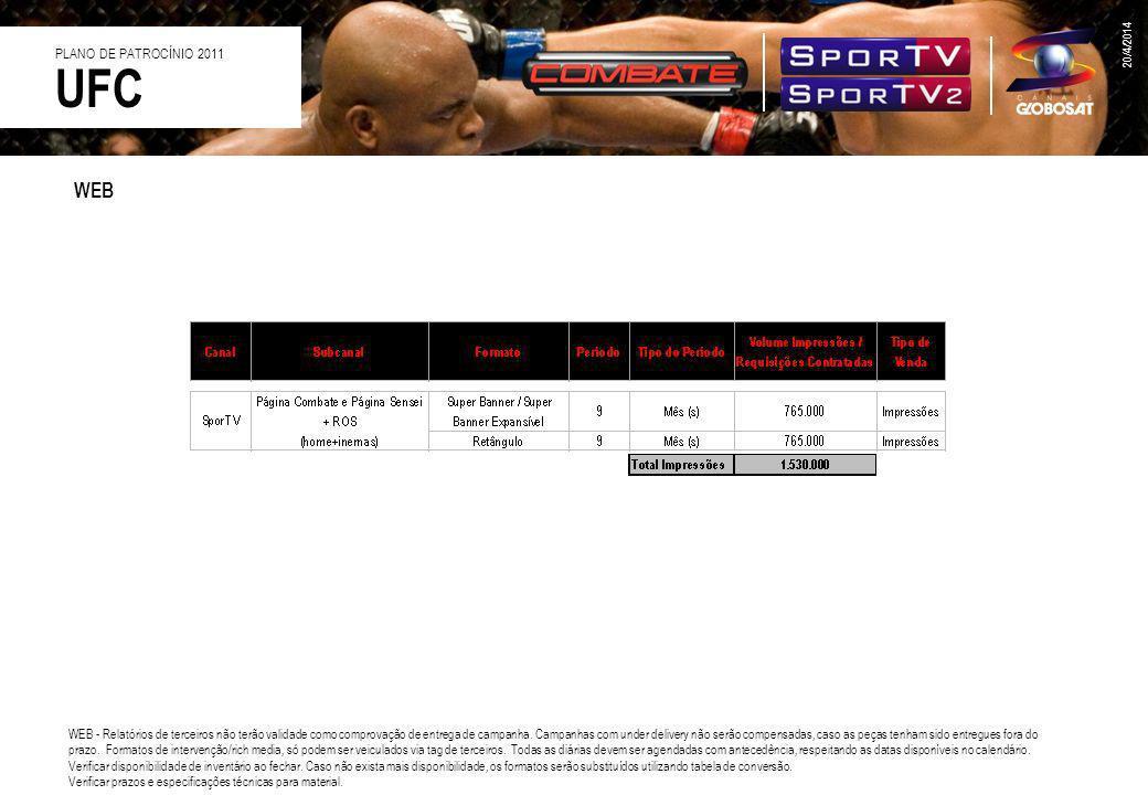20/4/2014 UFC PLANO DE PATROCÍNIO 2011 WEB - Relatórios de terceiros não terão validade como comprovação de entrega de campanha. Campanhas com under d