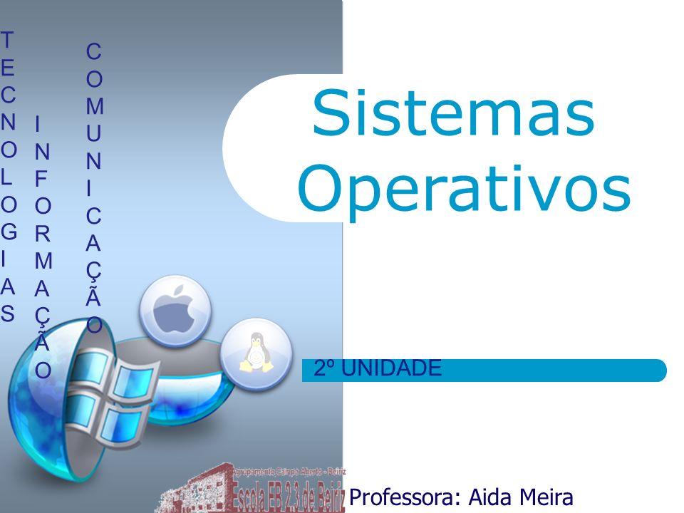 Sistemas Operativos Professora: Aida Meira TECNOLOGIASTECNOLOGIAS INFORMAÇÃOINFORMAÇÃO COMUNICAÇÃOCOMUNICAÇÃO 2º UNIDADE