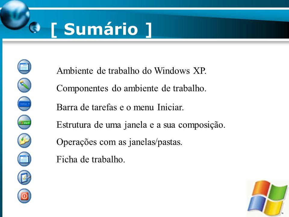 [ Sumário ] Ambiente de trabalho do Windows XP.Componentes do ambiente de trabalho.
