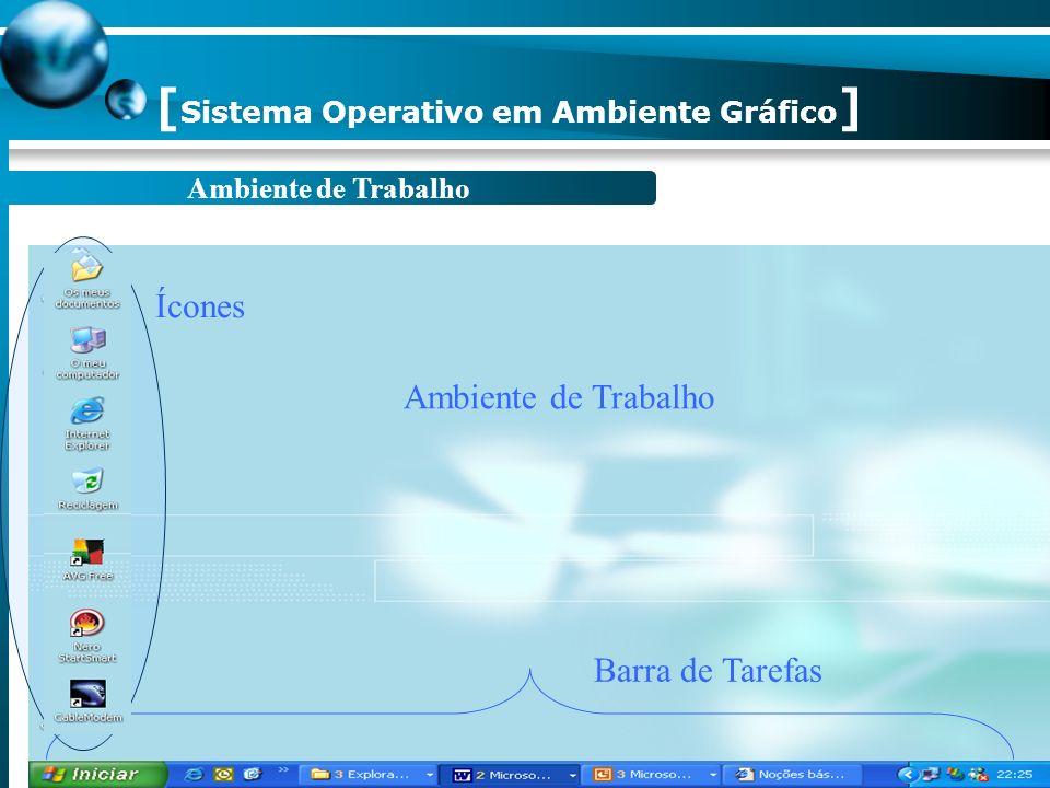 [ Objectivos ] Apresentar o ambiente de trabalho do Windows XP. Conhecer a barra de tarefas e o menu iniciar. Conhecer a estrutura de uma janela e a s