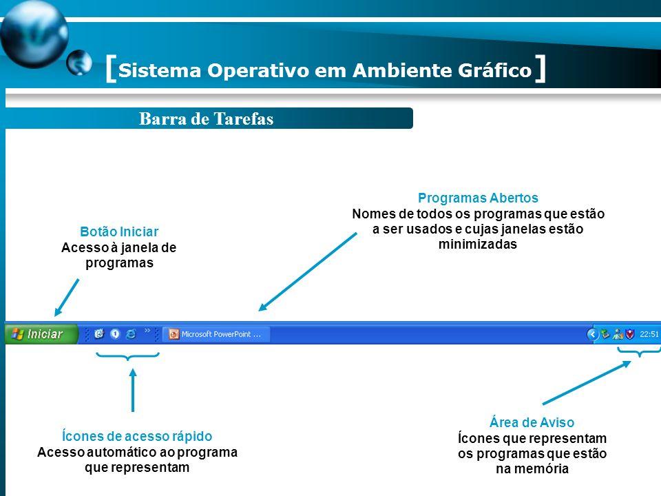[ Sistema Operativo em Ambiente Gráfico ] 1.Coloque o rato sobre um ícone. 2. Faça duplo clique sobre o respectivo ícone.