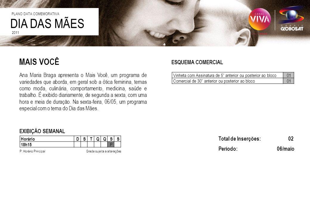 DIA DAS MÃES 2011 ESQUEMA COMERCIAL EXIBIÇÃO SEMANAL Ana Maria Braga apresenta o Mais Você, um programa de variedades que aborda, em geral sob a ótica