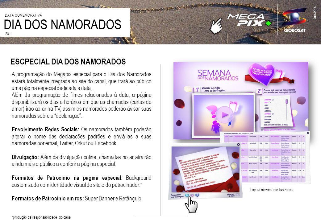 20/4/2014 2011 DIA DOS NAMORADOS DATA COMEMORATIVA A programação do Megapix especial para o Dia dos Namorados estará totalmente integrada ao site do canal, que trará ao público uma página especial dedicada à data.