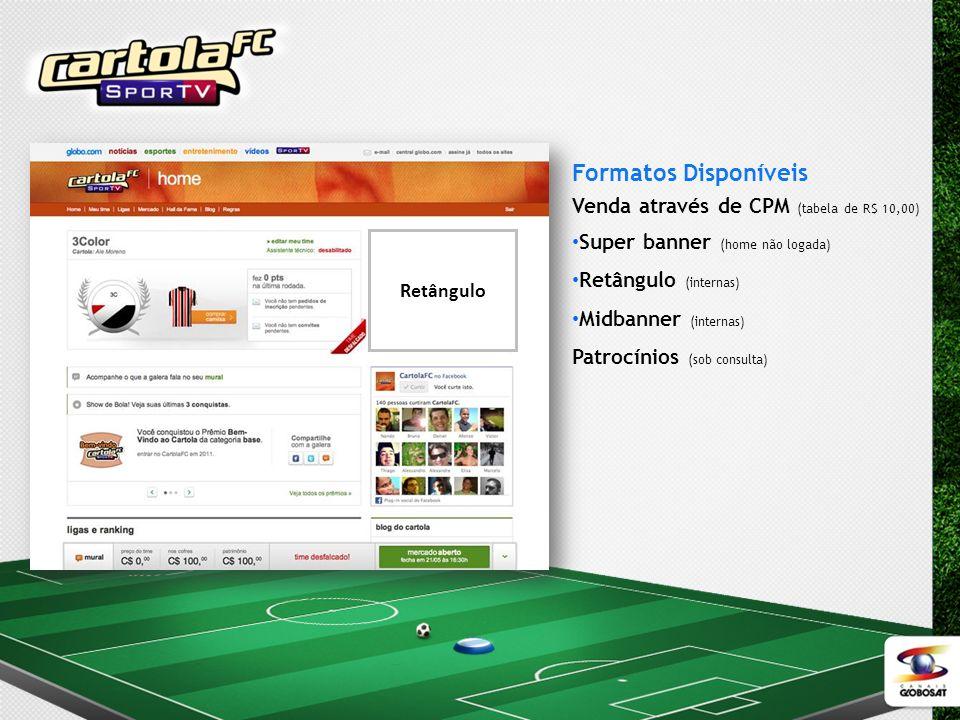 Formatos Disponíveis Venda através de CPM (tabela de R$ 10,00) Super banner (home não logada) Retângulo (internas) Midbanner (internas) Patrocínios (s